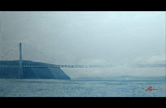 001-02 Misty George Washington Bridge, 2017, oil on canvas, 17x9
