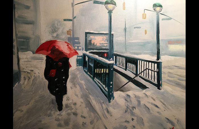 001-15. Snow with Red Umbrella. 2018. Oil on canvas.    SOLD