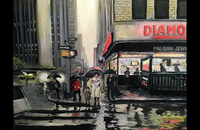 001-16. Sound of  Rain in the Diamond District.  2020  Oil on canvas.  SOLD