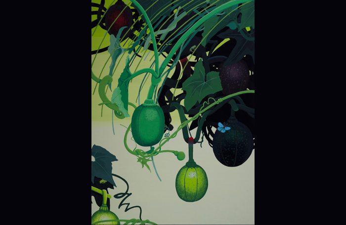 005-02  ブルーの蝶々 100cmx73cm acrylic price $3000
