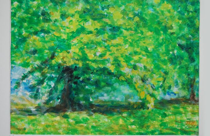 "006-09  Tree 984  11""x7 3/4"" watercolor $500"