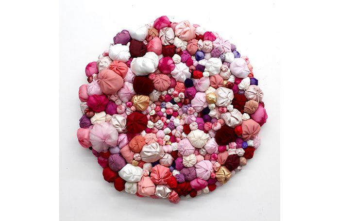 """009-03  Mezame   32"""" diameter   Fabric, sewn cotton  $4.000.00"""