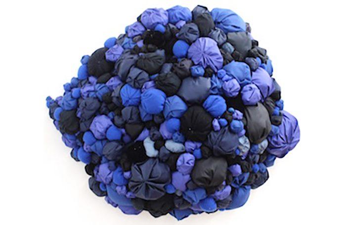 "009-04  The blue   32"" diameter   Fabric, sewn cotton, wire   $5,000.00"