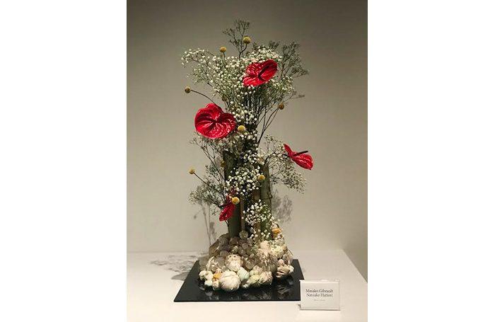 """009-06   Kaguyahime (Flower vase)   15""""x23"""" bamboo.flower,Fabric,sewn cotton   $3,000.00"""