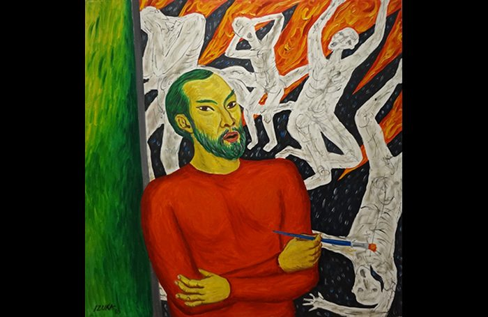 010-01  Self-portrait, 1985, Oil on canvas, 46 x 46 in.