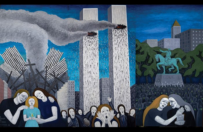 010-02  Requiem for 9-11-01, 2006, Oil and acrylic on canvas, 76 x 126 in. (three parts)