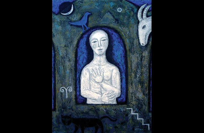 010-04  Woman in Blue, 2008, Oil and acrylic on canvas, 40 x 30 in.