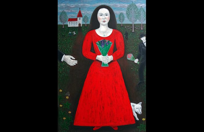 010-05  Woman in Red Dress, circa 2000s, Oil and acrylic on canvas, 36 x 24 in.
