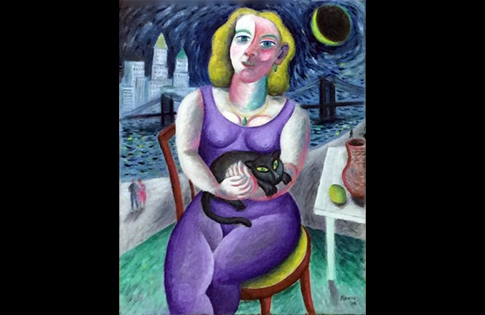 010-06  Purple Lady with Cat, circa 2000s, Oil and acrylic on canvas, 28 x 22 in.