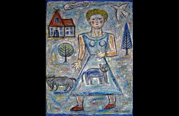 010-07  Walk on Sunday, 2005, Oil and acrylic on canvas, 40 x 30 in.