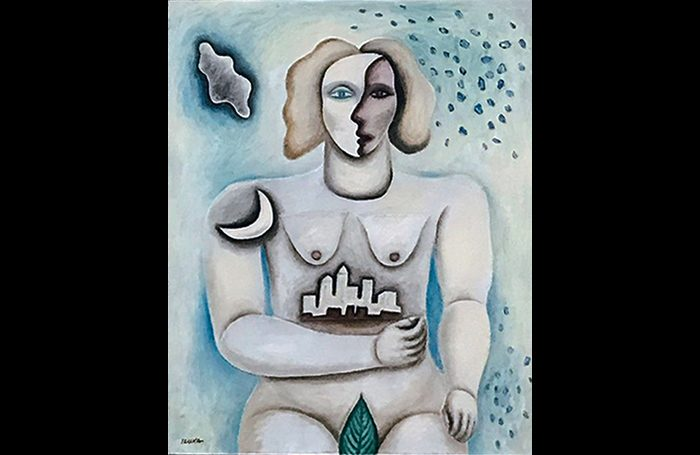 010-08  Woman Holding City, circa 2000s, Oil and acrylic on canvas, 30 x 24 in.